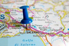 Salerno on map. With push pin Stock Photography