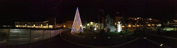 Salerno - nattsikt av promenaden arkivfoton