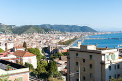 Salerno Panorama - Italia. Aerial view of the city of Salerno and its Gulf royalty free stock photography