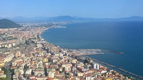 Salerno, panorama. Landscape of the city 'sea of salerno view from one of the many hills surrounding the city' where every year so tourism Stock Photos