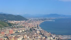 Salerno, panorama. Landscape of the city 'sea of salerno view from one of the many hills surrounding the city' where every year so tourism Stock Photo
