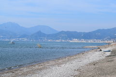 Salerno. Panoramic view taken from the seashore where the sfodo there 'city' of Salerno home to much tourism stock photos
