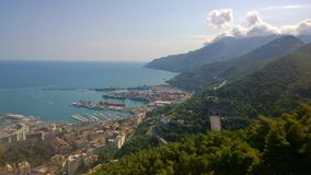 Salerno scene. Landscape of Salerno harbor seen from the castle of arechi the background the mountains of the Amalfi Coast meyta from time tourism all year royalty free stock images