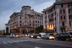 Salerno square in Rome. Night shot of Salerno square in Rome with car traffic Royalty Free Stock Photography