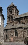 Salers, France. Curch in old town Salers in Central Massif, Auvergne, France Stock Image