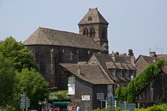 Salers, France. Curch in old town Salers in Central Massif, Auvergne, France Royalty Free Stock Images
