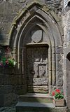 Salers, France. Door in old town Salers in Central Massif, Auvergne, France Royalty Free Stock Photos