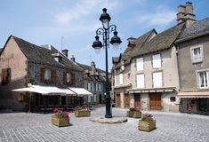 Salers, France. Old town Salers in Central Massif, Auvergne, France Stock Photo