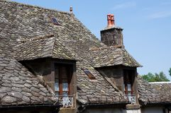 Salers, France. Stone roof in old town Salers in Central Massif, Auvergne, France Stock Photography