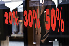 Sales. Percent bargaing by selling of clothing Royalty Free Stock Photos