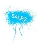 Sales. Text on blue grunge background stock illustration