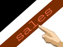 Sales. Finger pointing at'sales royalty free stock photo
