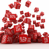 Sales. 3d render of Falling red Percent Cubes Royalty Free Stock Image