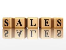 Sales. 3d golden boxes with black text sales vector illustration