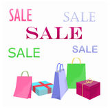 Sales. Shopping gifts, toys, packs illustration Stock Images