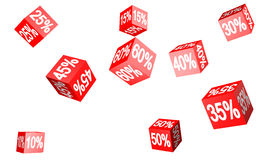 Sales. Red cubes with various percent values Stock Photos