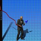 Sales adjustment. Man adjusts a sales chart Royalty Free Stock Images