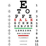 Sales advertising with optical eye test Stock Image
