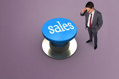 Sales against grey vignette Royalty Free Stock Photo