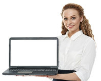 Sales agent presenting a laptop Stock Images