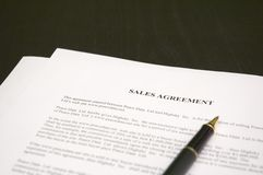 Sales agreement. And pen Stock Photos