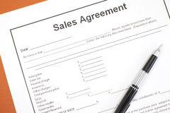 Sales agreement. Close - up Business document paper of Sales agreement Royalty Free Stock Images