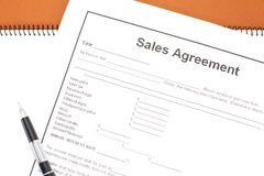 Sales agreement. Close - up Business document paper of Sales agreement Stock Image