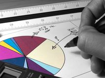 Sales analysis. Sales graph analysis with selective monochrome stock photography