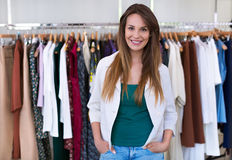 Sales assistant in clothing store Royalty Free Stock Image
