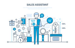 Sales assistant, investment, financial growth, performance indicators. Discount, vouchers. Sales assistant, investment, financial growth, methods and ways to Royalty Free Stock Photography