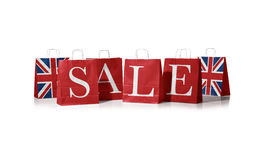 Sales bag. Flag of the united kingdom on shopping bags. Stock Photo