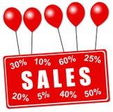 Sales balloons. Sign hanging on balloons announcing sales season Royalty Free Stock Photo