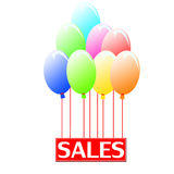 Sales balloons. Sign hanging on balloons announcing sales season Stock Photo