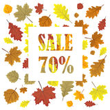 Sales banner with autumn leaves. Royalty Free Stock Photo
