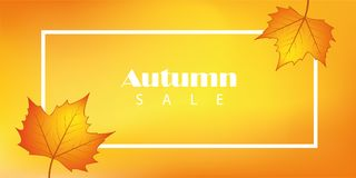 Sales banner with autumn leaves royalty free illustration