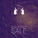 Sales banner mid season template with woman Royalty Free Stock Photos