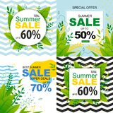 Sales Banners Set with Special Offers for Summer. Vacation. Vector Flat Illustration with Tropical Design and Advertising Text. 50, 60, 70 Percent Total Holiday stock illustration
