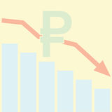 Sales Bar Chart. Falling down of Russian ruble concept. Royalty Free Stock Photography