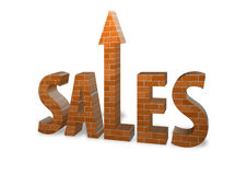 Sales Bricks. Bricks with sales increase depiction Royalty Free Stock Photography
