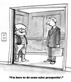 Sales. Business cartoon about an old timer doing sales prospectin stock illustration