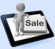 Sales Button With Character Tablet Shows Promotions And Deals Royalty Free Stock Images