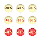 Sales buttons. Set of nine vector round buttons in light yellow, red and brown with sales from -10 % to -90 stock illustration