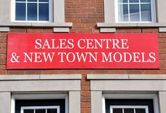 Sales centre and new town models banner Royalty Free Stock Photo