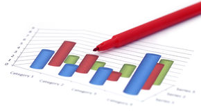 Sales chart with a red signature pen Royalty Free Stock Image