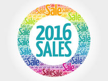 2016 SALES circle word cloud. Business concept Stock Photos
