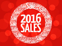 2016 SALES circle word cloud. Business concept Stock Image