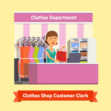 Sales clerk working with customers Royalty Free Stock Photography