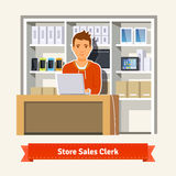 Sales clerk working with customers. At the technology store or department. Young boy shop assistant. Flat style illustration. EPS 10 vector Stock Photography