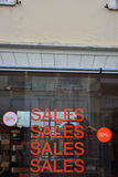Sales in clothes store. Summer sales in clothes store Royalty Free Stock Photos