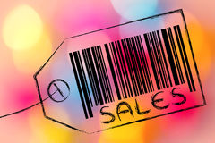 Sales code bar on product price tag Stock Photo